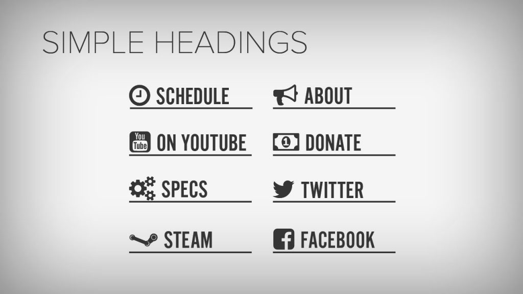 Simple Headings for Twitch Profiles