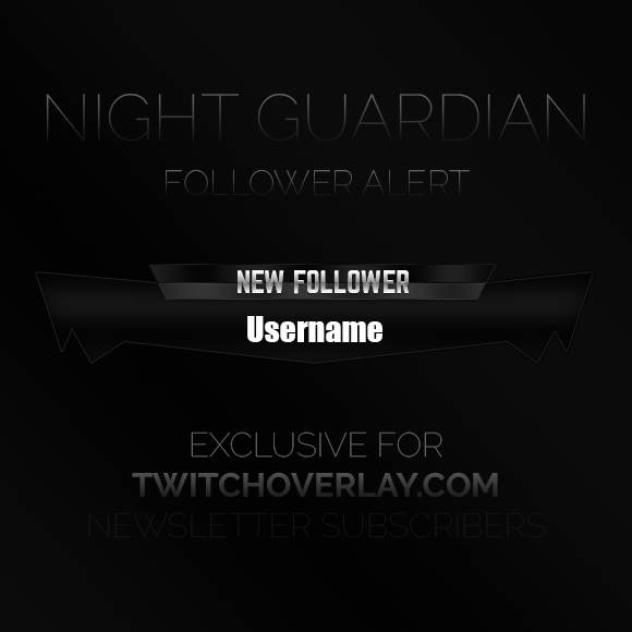 Dark Follower Alert Graphic - Twitch Overlay