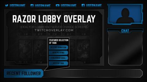blue lobby overlay - Twitch Overlay