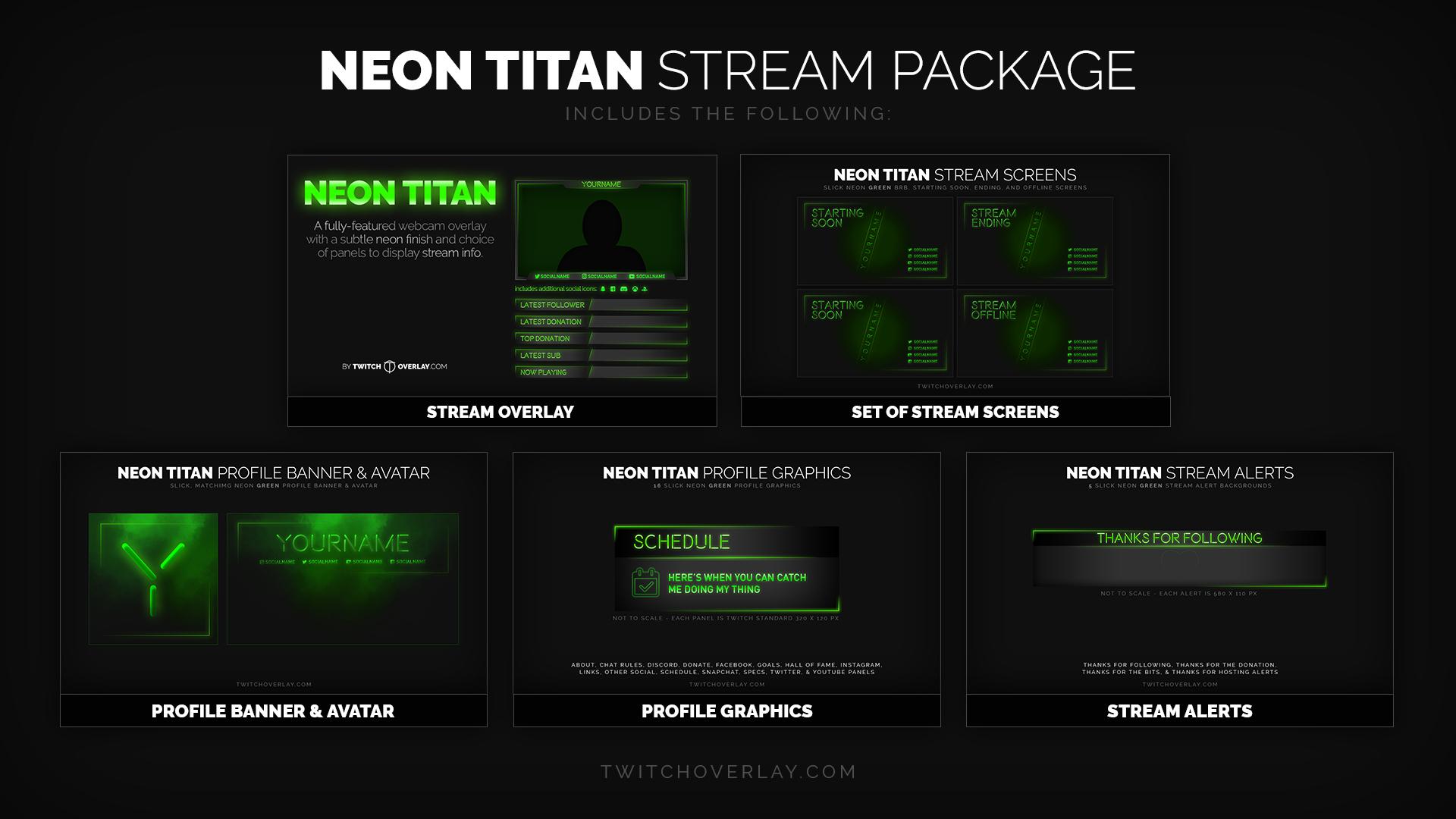 neon titan stream packaged added twitch overlay