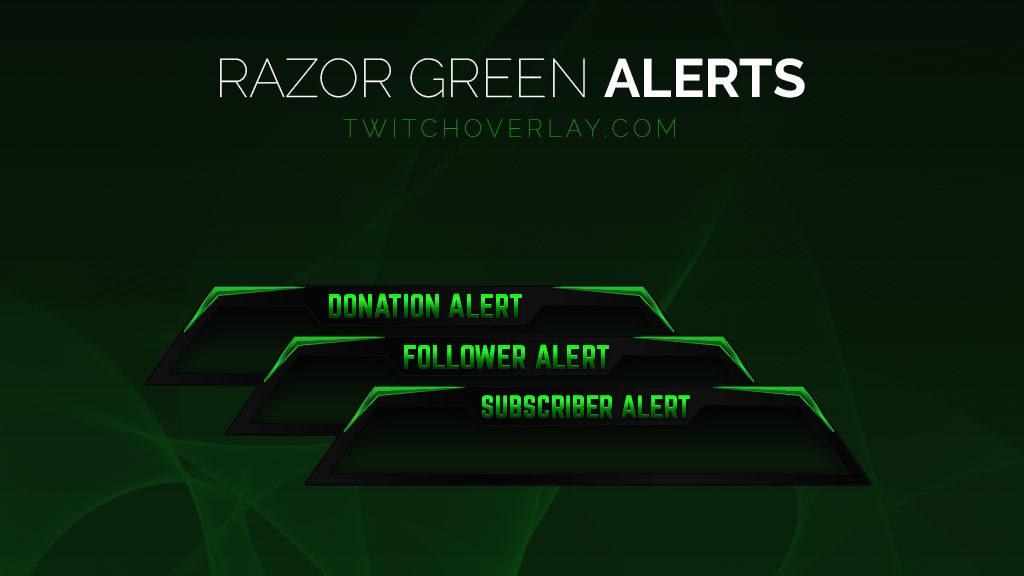 Razor Green Follower, Donation, Sub Alerts