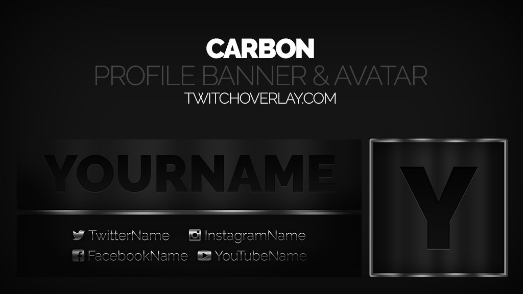 Carbon – Metallic Profile Banner & Avatar
