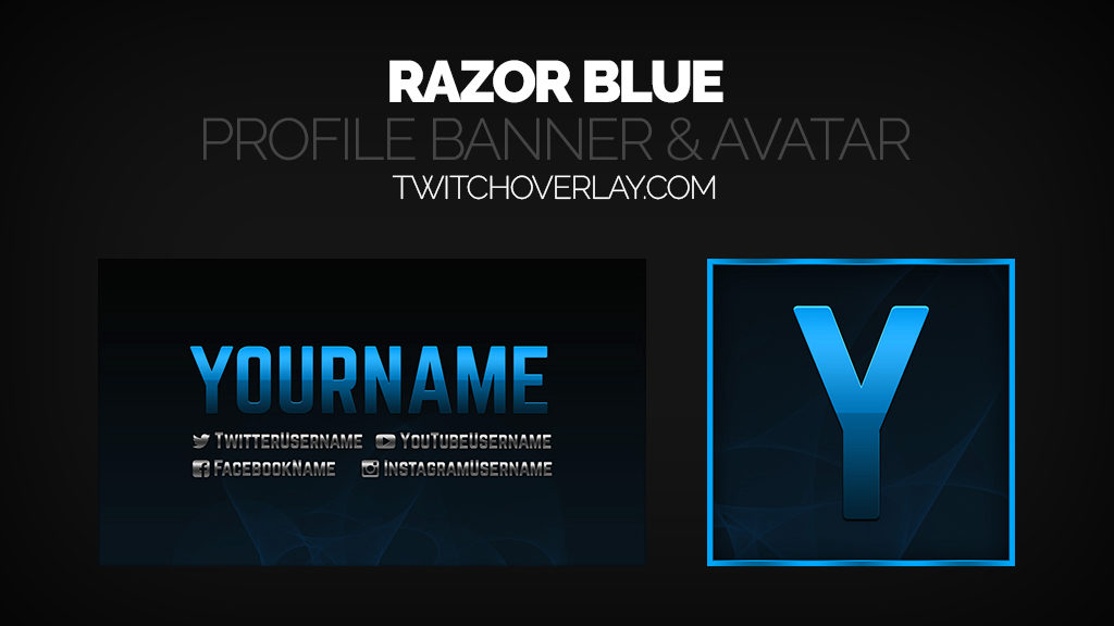 Razor Blue Stream Profile Banner & Avatar