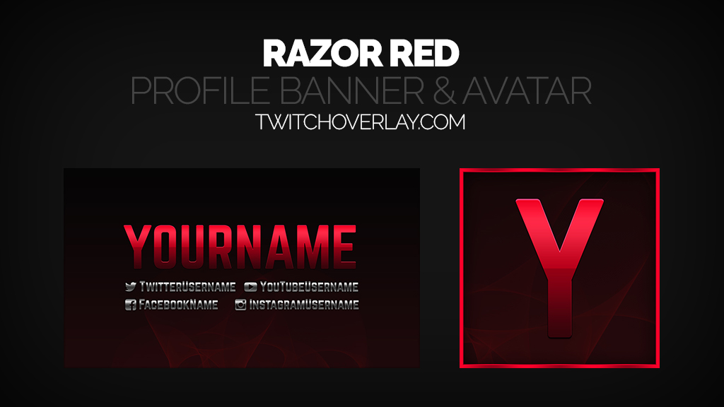 Red Stream Profile Banner Avatar - Twitch Overlay