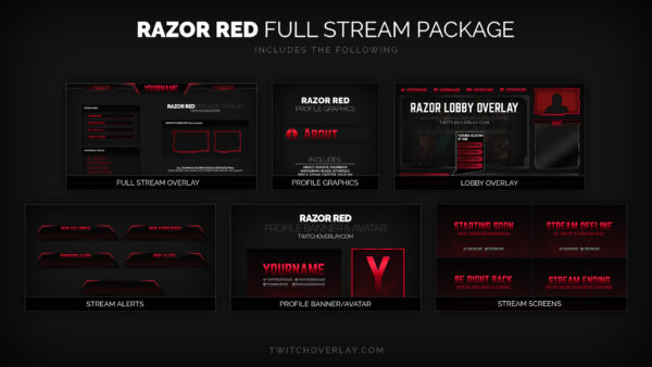 red stream package - Twitch Overlay