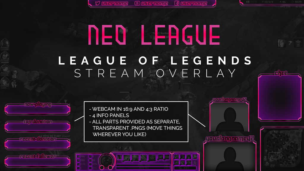 Neon League of Legends Twitch Overlay