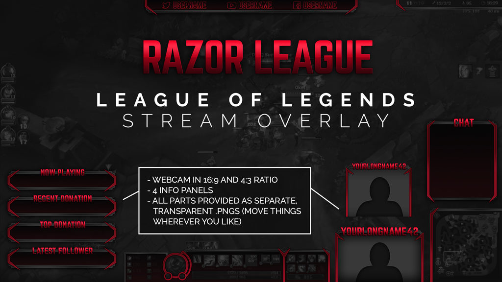 Razor League – Red League of Legends Twitch Overlay