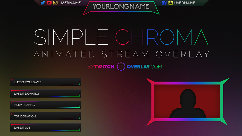 simple chroma chroma stream overlay twitch overlay. Black Bedroom Furniture Sets. Home Design Ideas