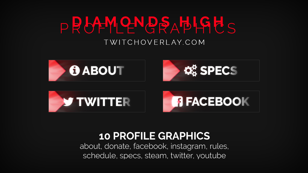 free red profile graphics - Twitch Overlay