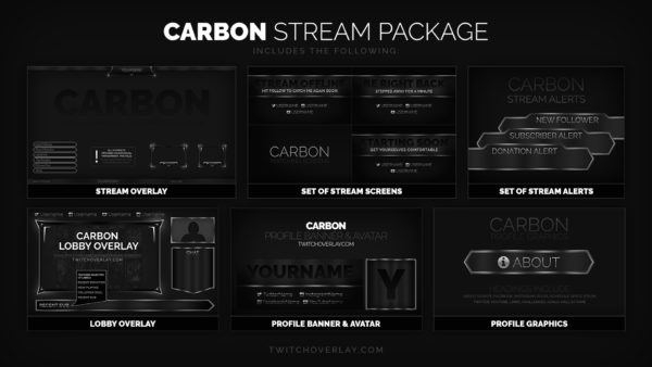 Carbon – Grey Twitch Overlay