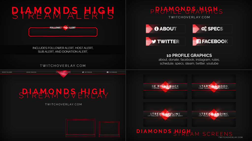 Diamonds High Free Stream Package By Twitch Overlay