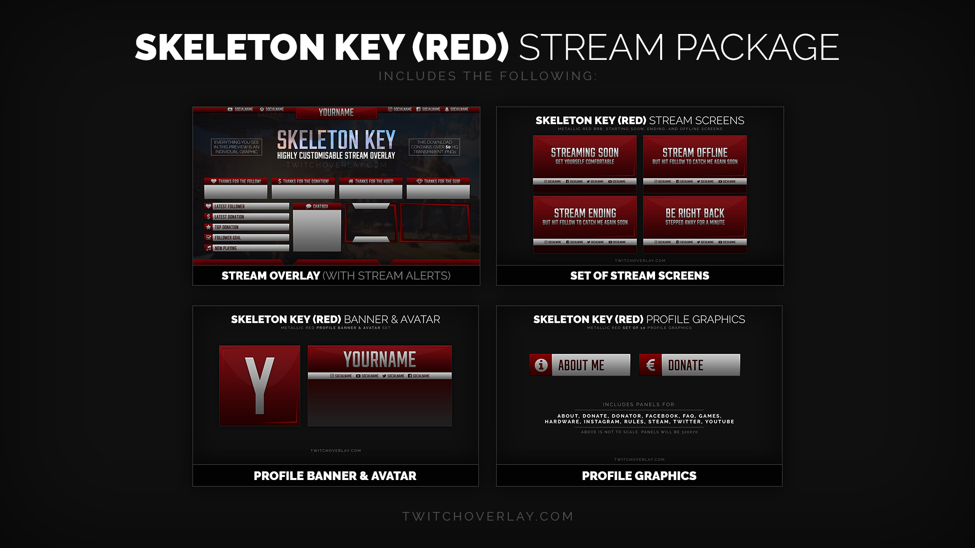 Metal Red Stream Package - Twitch Overlay