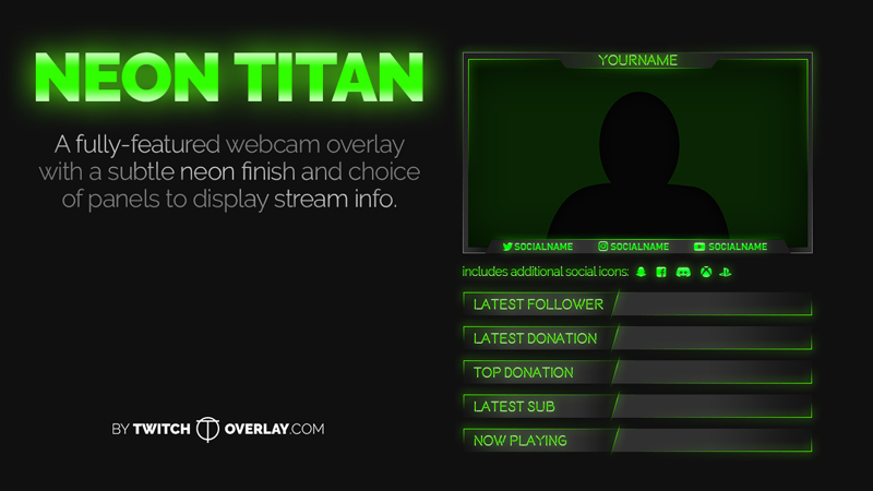 Neon Titan – Green Webcam Overlay