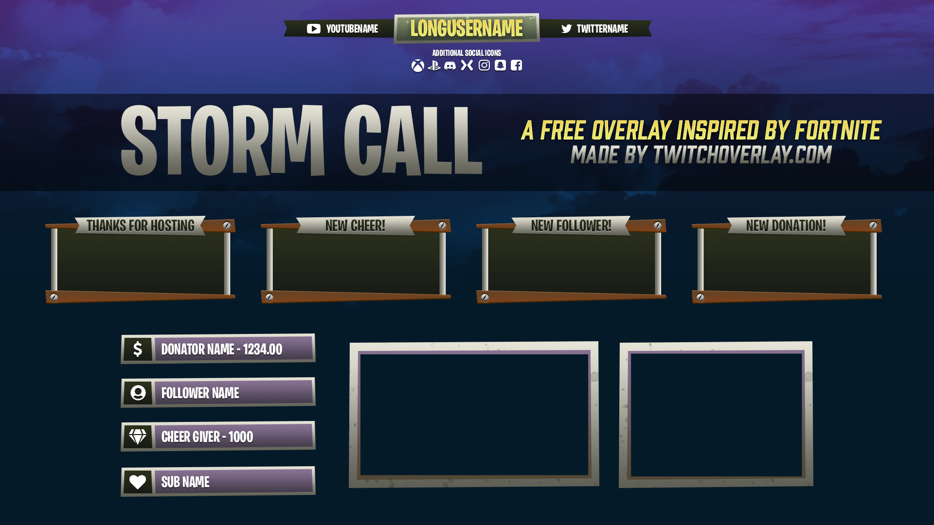 Storm Call Free Fortnite Overlay Twitch Overlay