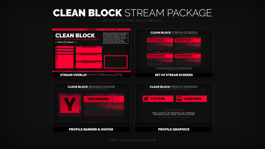 Clean Block Red - Red Stream Package