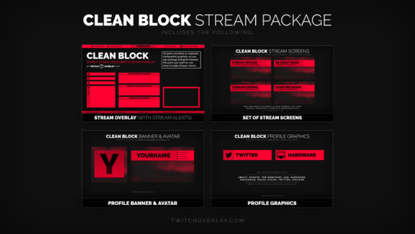 Clean Block – Clean Red Stream Overlay