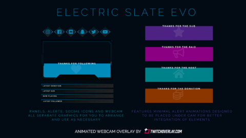 Electric Slate Evo – Animated Blue Webcam Overlay
