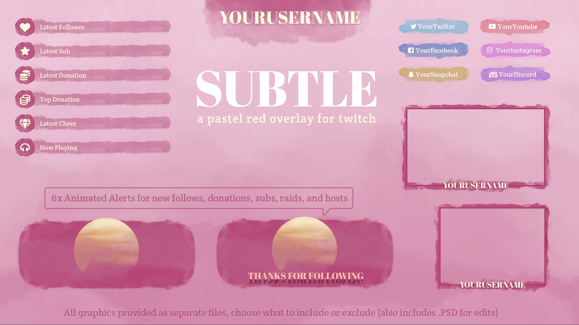 Pastel Red Twitch Overlay - Twitch Overlay