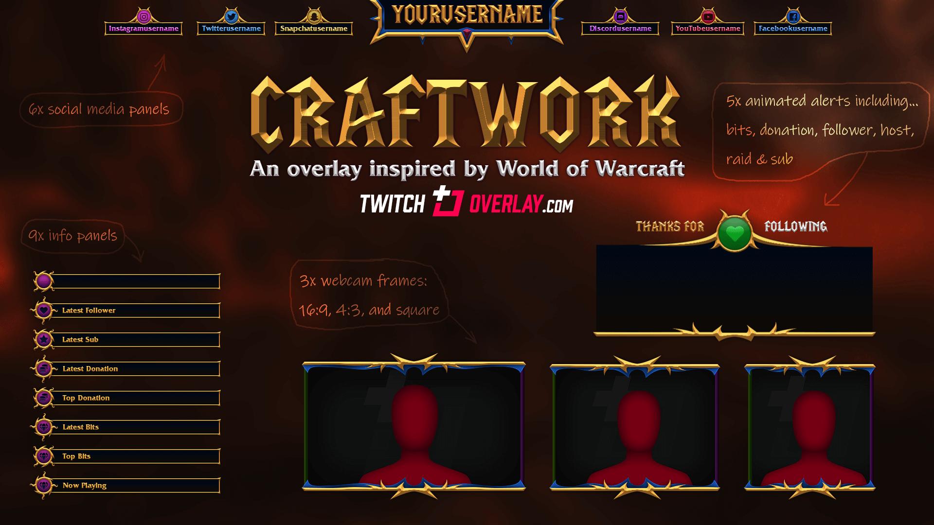 Craftwork - World of Warcraft Twitch Overlay