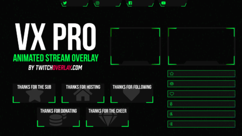 VX Pro – Animated Green Twitch Overlay
