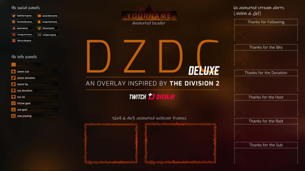 DZDC Deluxe – The Division 2 Twitch Overlay