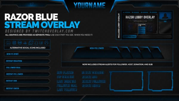 Razor Blue Twitch Panels
