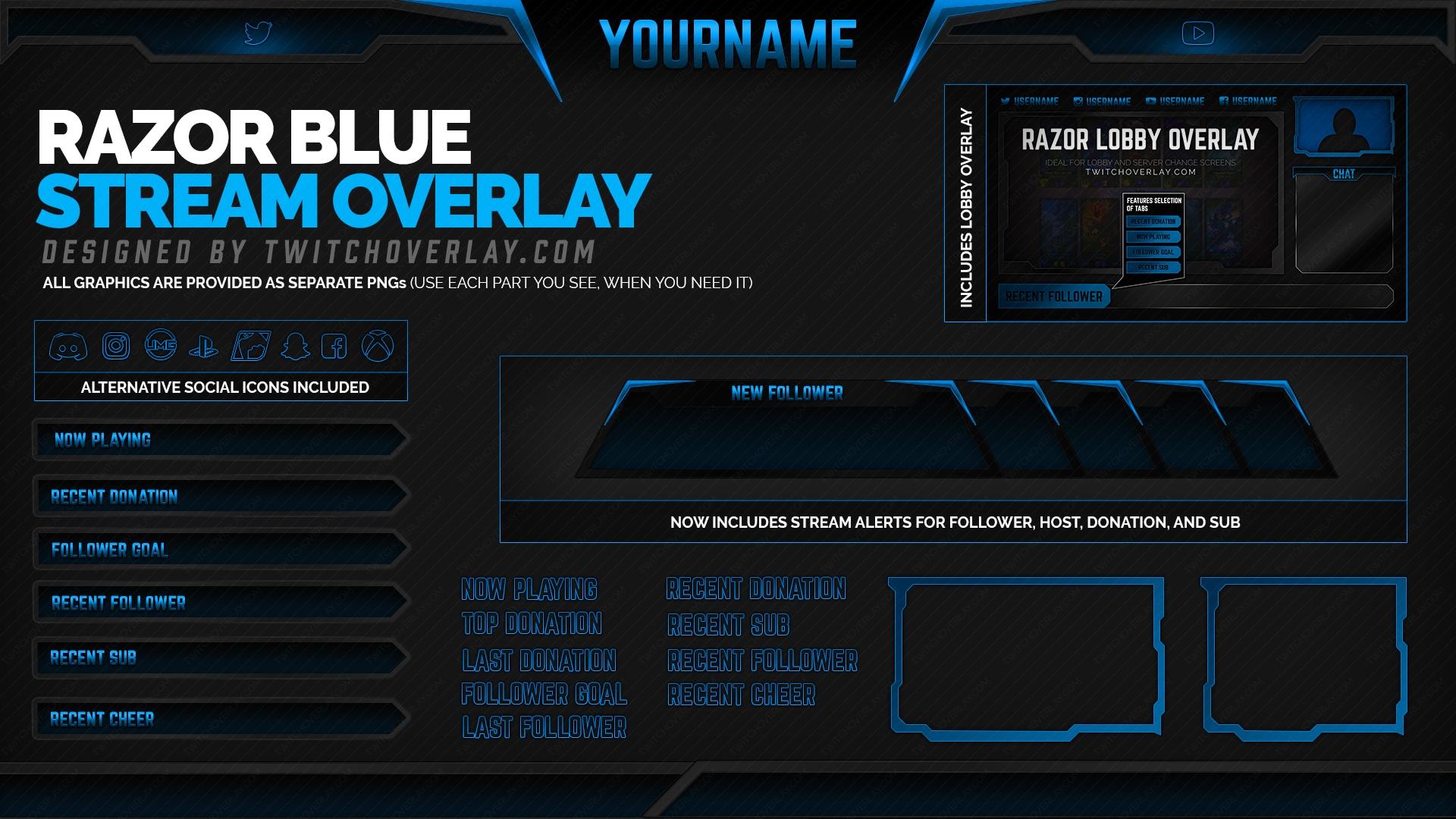 blue overlay - Twitch Overlay
