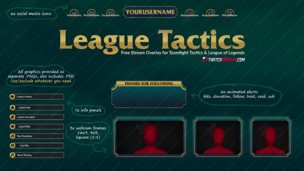 League Tactics – Free Teamfight Tactics Twitch Overlay