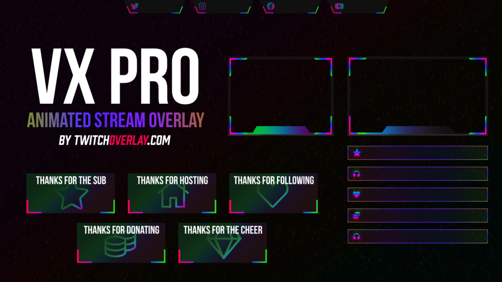 VX Pro – Animated Chroma Twitch Overlay