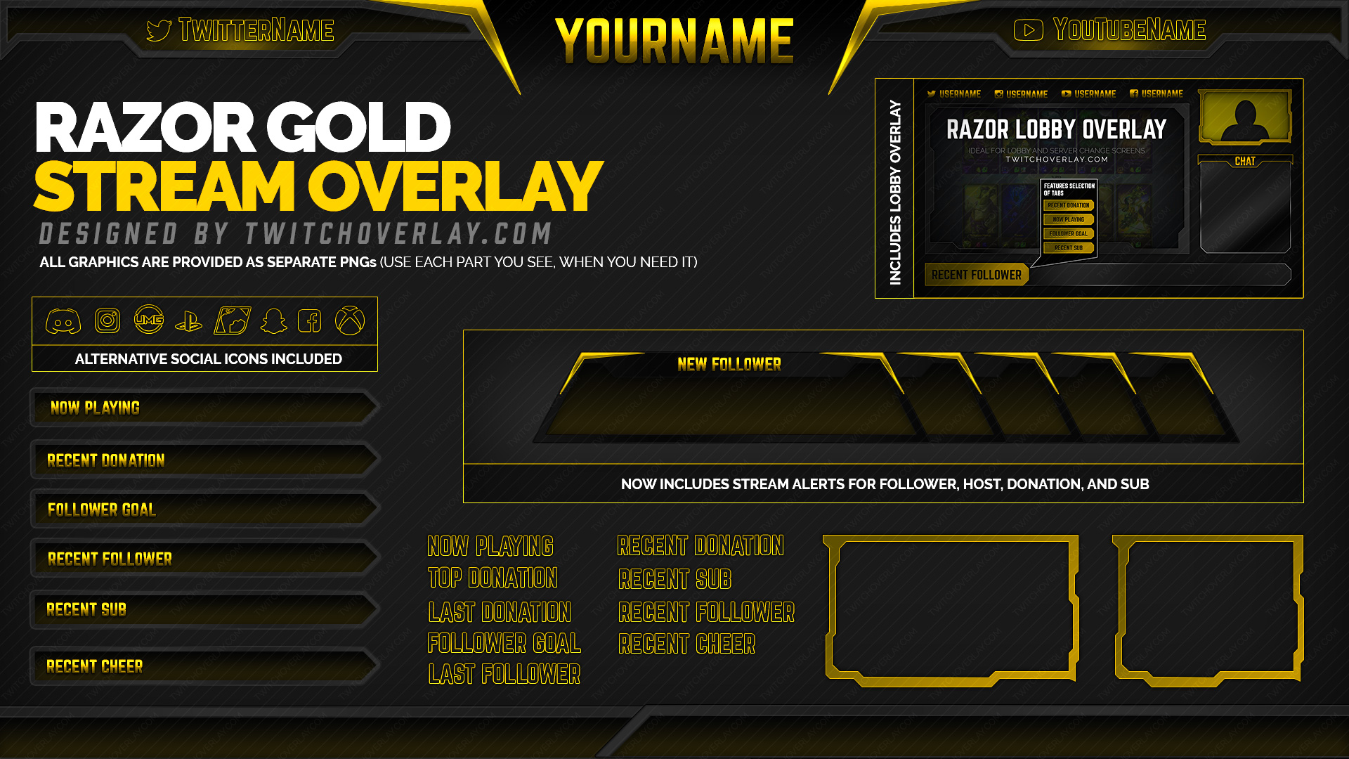 gold twitch overlay - Twitch Overlay