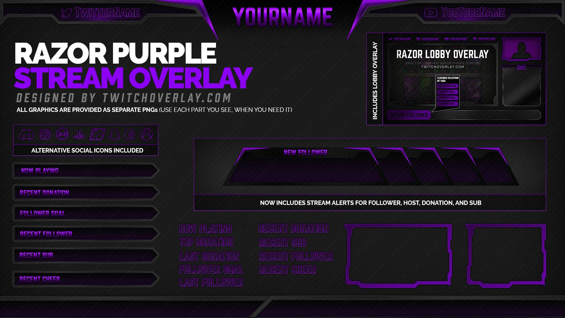 purple twitch overlay - Twitch Overlay