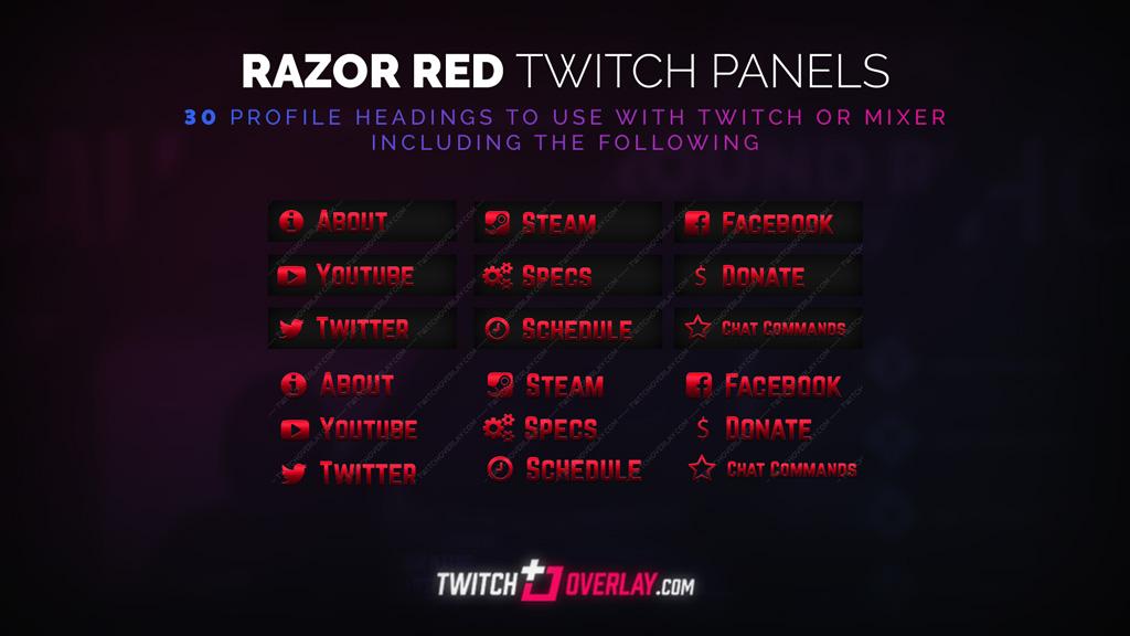 Razor Red Twitch Panels