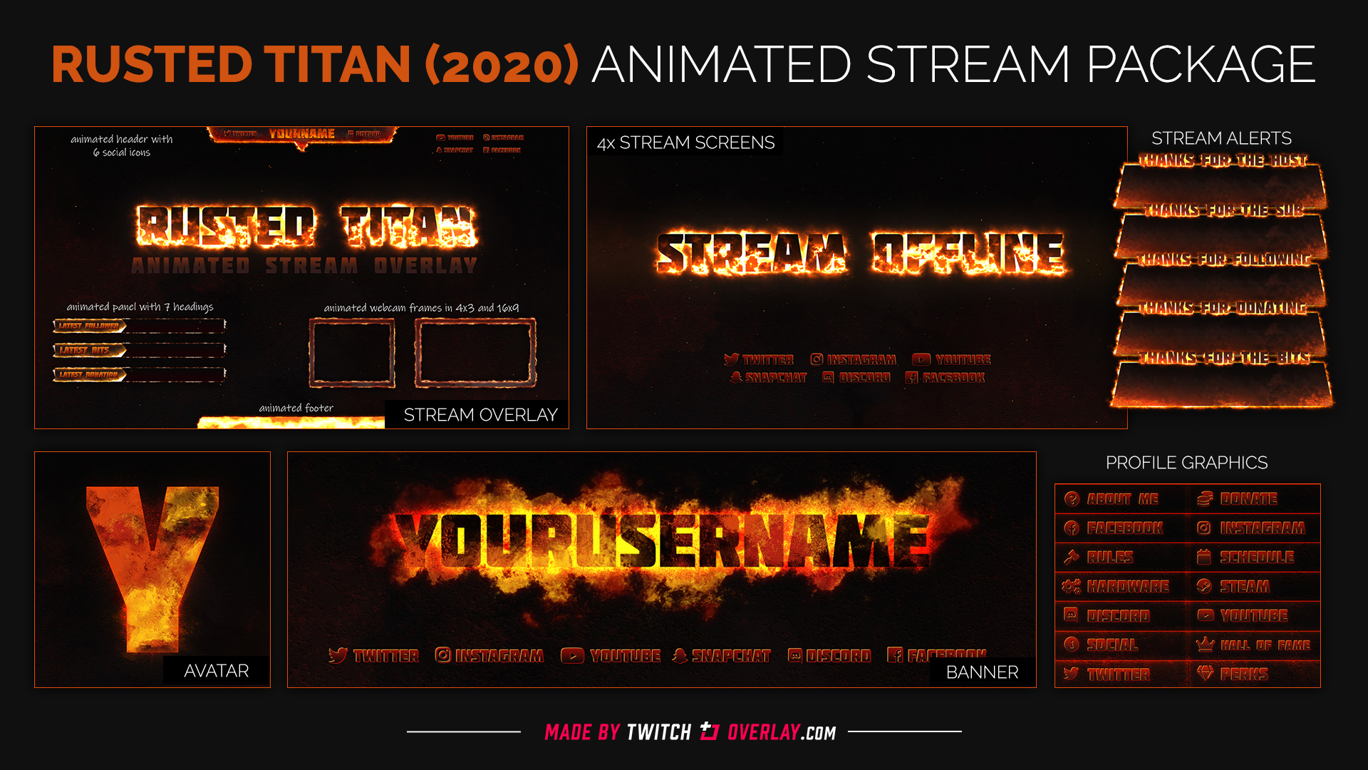 fire stream package - Twitch Overlay