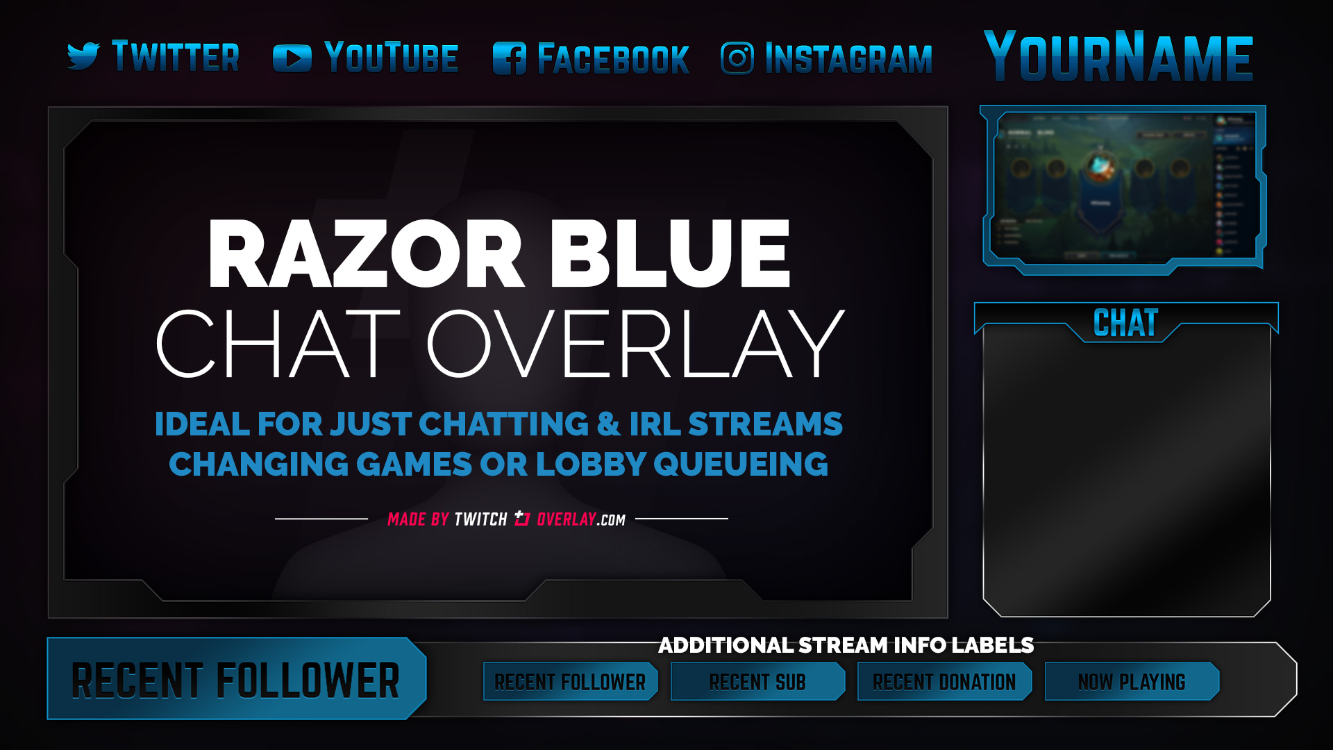 blue chat overlay - Twitch Overlay