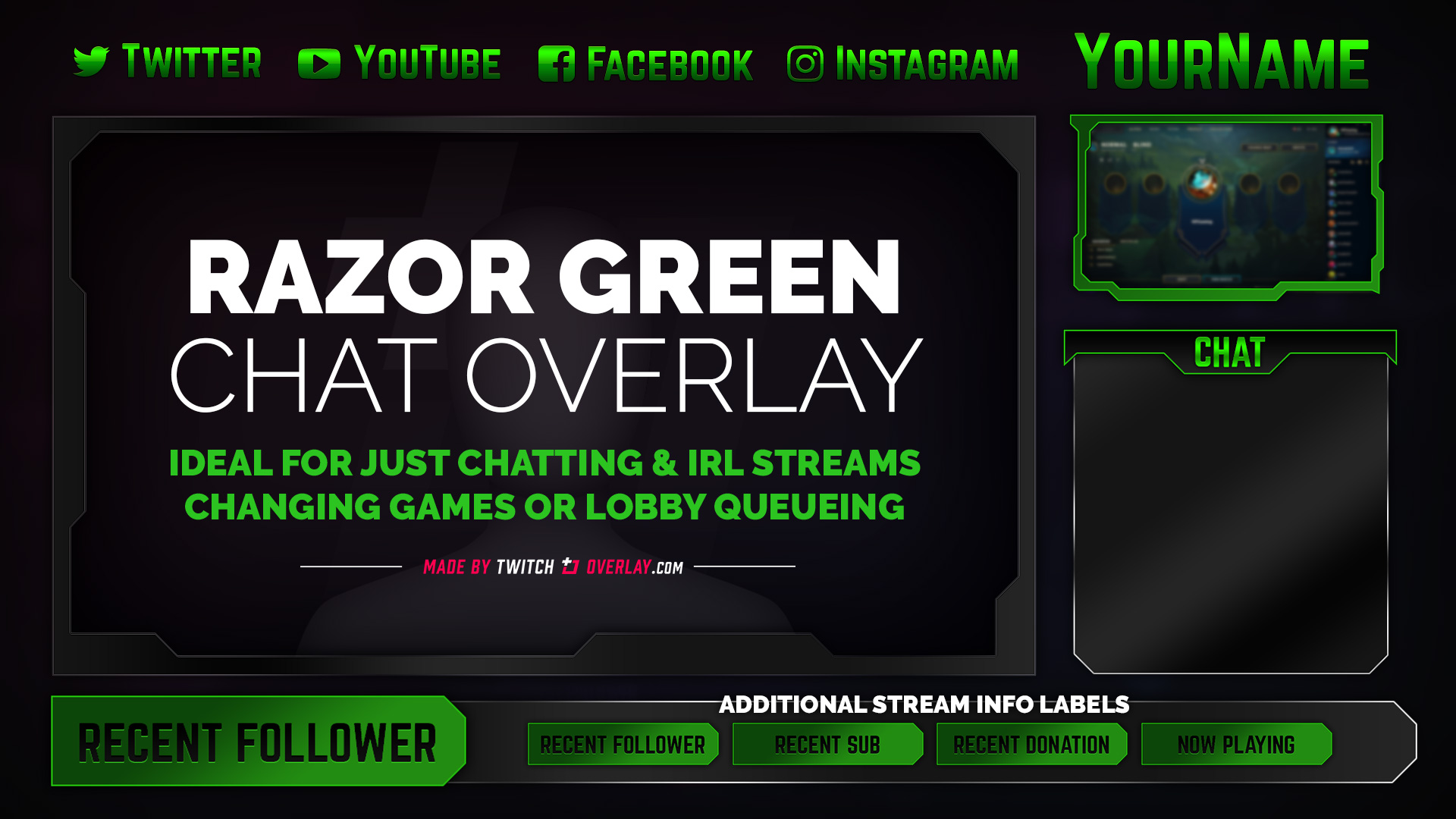 green chat overlay - Twitch Overlay