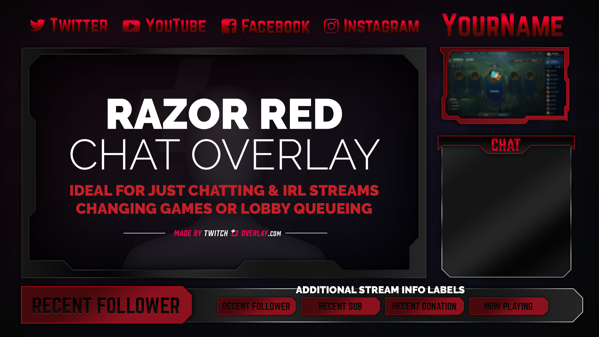 red chat overlay - Twitch Overlay