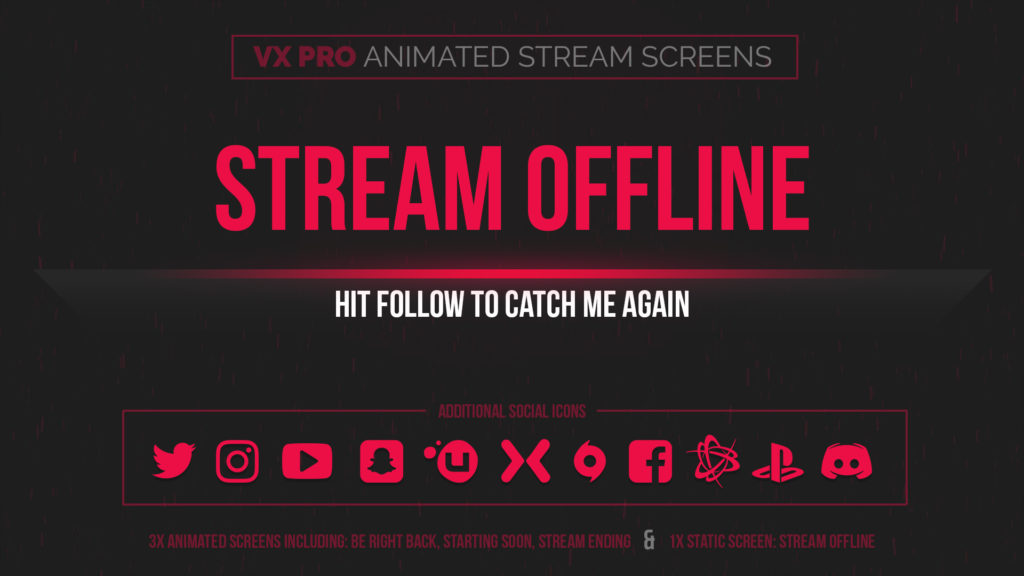 VX Pro – Animated Red Stream Screens