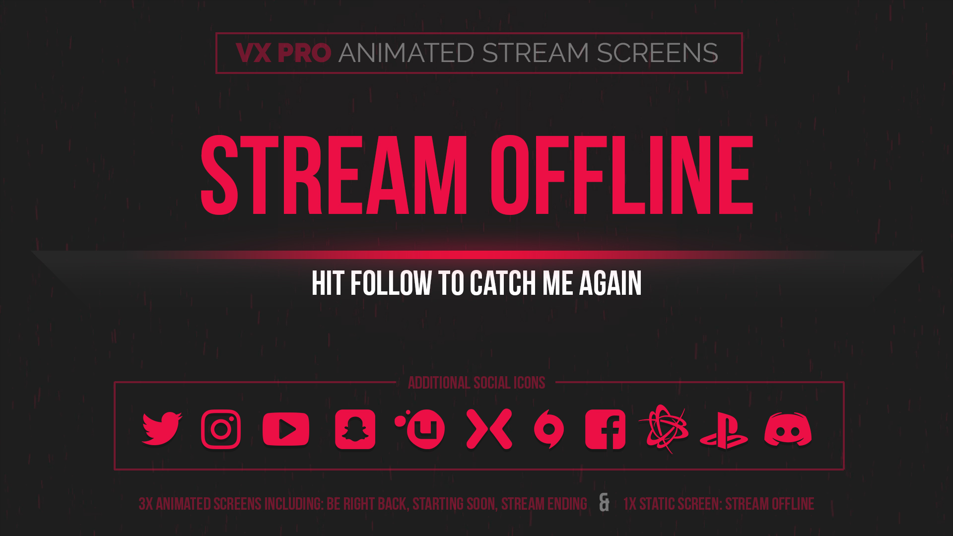 animated red stream screens - Twitch Overlay