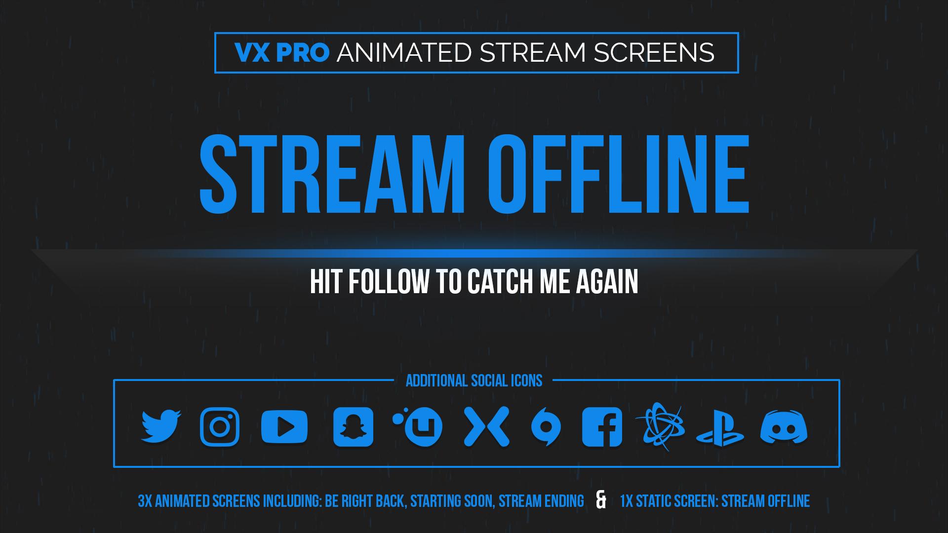animated blue stream screens - Twitch Overlay