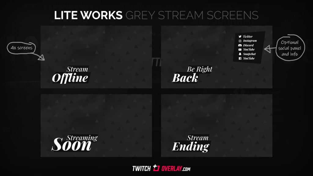 Lite Works – Free Grey Streaming Soon & BRB Screens