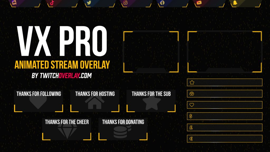 VX Pro Yellow – Animated Yellow Twitch Overlay