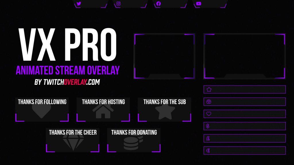 VX Pro Purple – Animated Purple Twitch Overlay