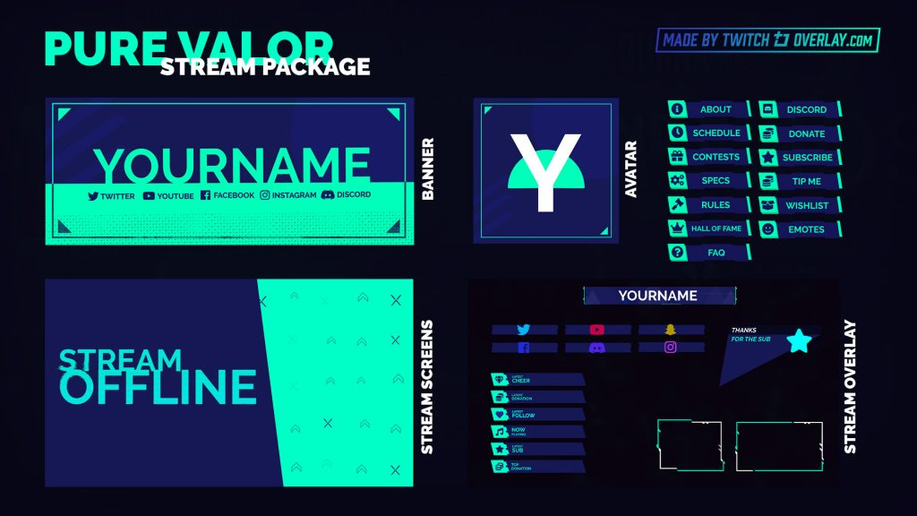 Pure Valor – Green Valorant Stream Package