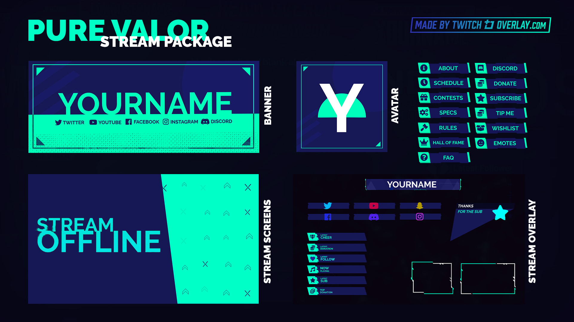 green valorant stream package - Twitch Overlay