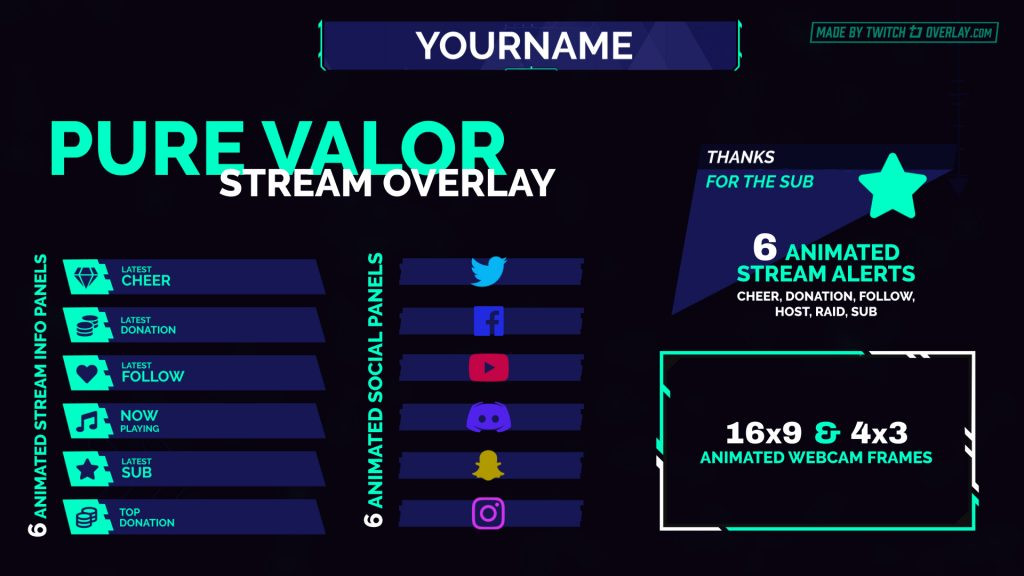 Pure Valor – Green Valorant Twitch Overlay