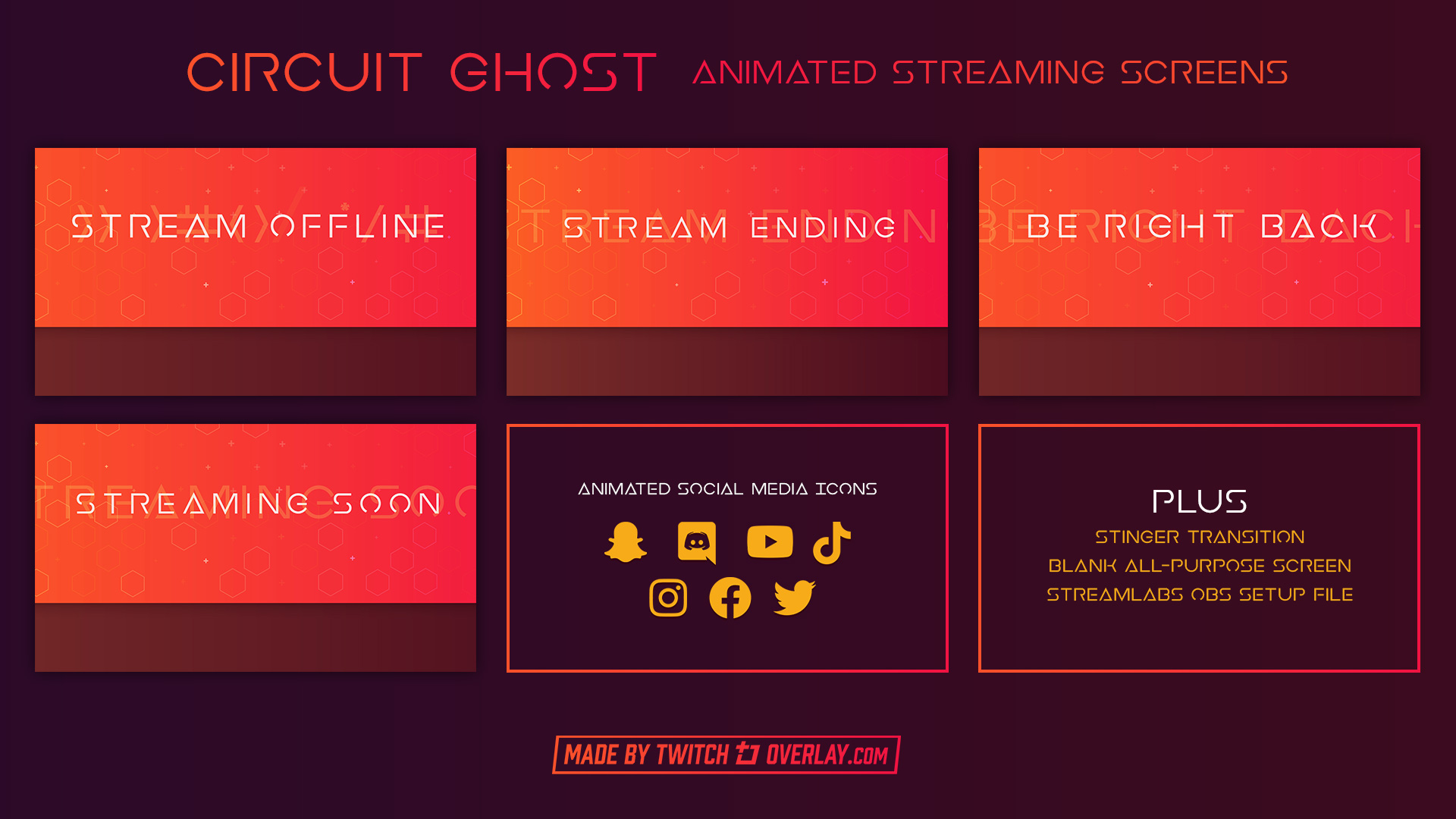 Red Streaming Soon & BRB Screens - Twitch Overlay