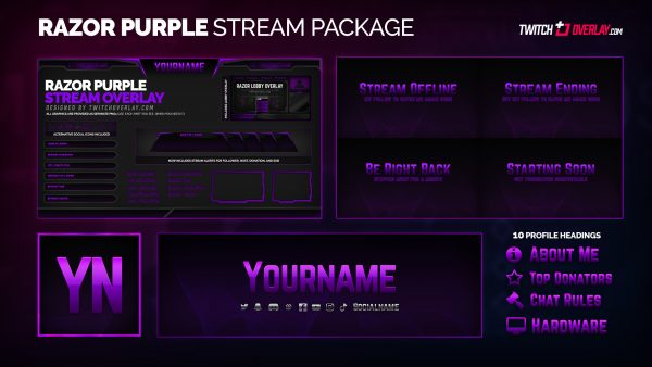 Razor Purple Twitch Overlay