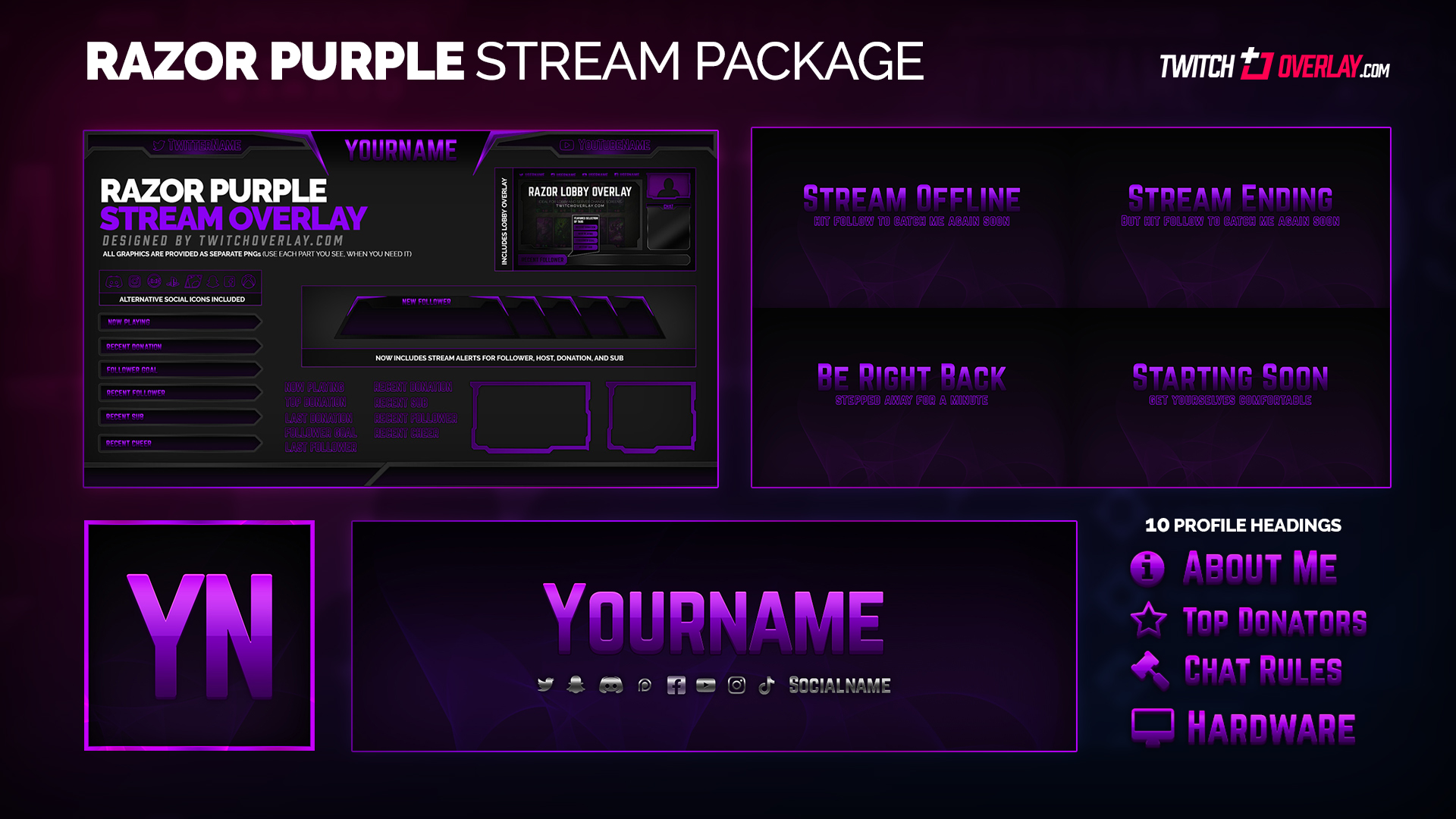 purple stream package - Twitch Overlay