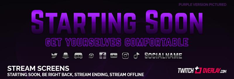 Purple Starting Soon Screen